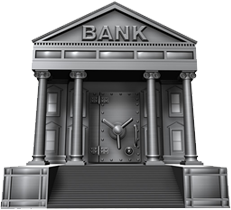 silver safe shaped like a bank building