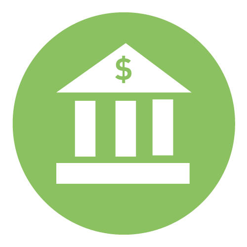 Icon representing a customer's relationship with a bank. It is a bank building, with 3 columns and a dollar sign on roof.