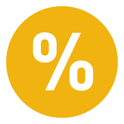 Icon representing one rate. It is a circle with a percentage sign.