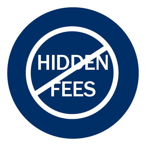 Round icon that indicates no hidden fees.