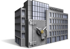 Office-building shaped silver safe representing that CDARS offers benefits for businesses.