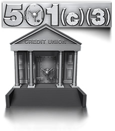 A silver safe with raised 501 (c) 3 and a silver safe of a Credit Union building representing that CDARS offers benefits for nonprofits and Credit Unions.