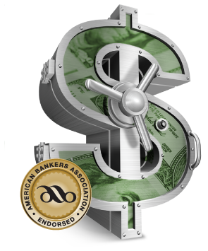 ABA seal, indicating that CDARS is endorsed by the American Bankers Association. Seal is gold with black lettering and is layered over a dollar-sign shaped silver safe.