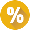 Round icon with a percentage sign representing one rate per CD maturity.